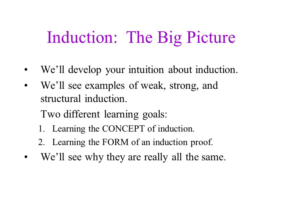 Weak Induction Is Structural Induction Weak induction proves p(n) for all natural numbers.