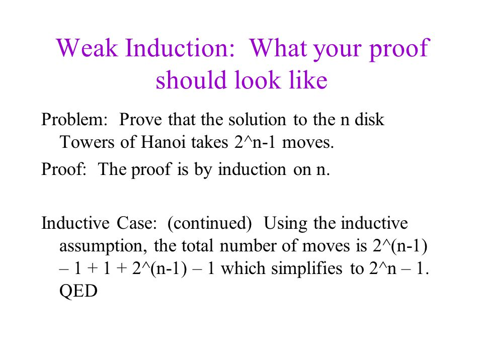 Weak Induction: What your proof should look like Problem: Prove that the solution to the n disk Towers of Hanoi takes 2^n-1 moves.