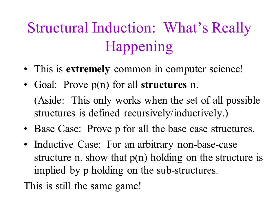 Structural Induction: What's Really Happening This is extremely common in computer science.