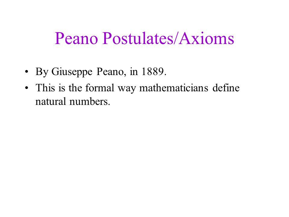 Peano Postulates/Axioms By Giuseppe Peano, in 1889.
