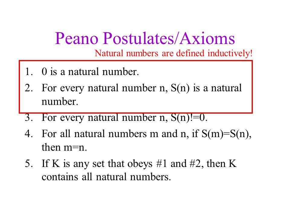 Peano Postulates/Axioms 1.0 is a natural number.