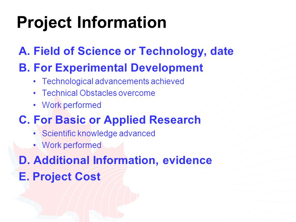 Project Information A. Field of Science or Technology, date B.