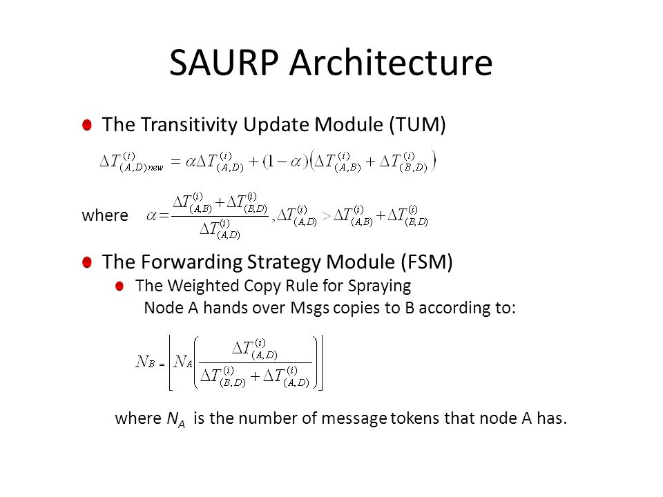 The Transitivity Update Module (TUM) where The Forwarding Strategy Module (FSM) The Weighted Copy Rule for Spraying Node A hands over Msgs copies to B