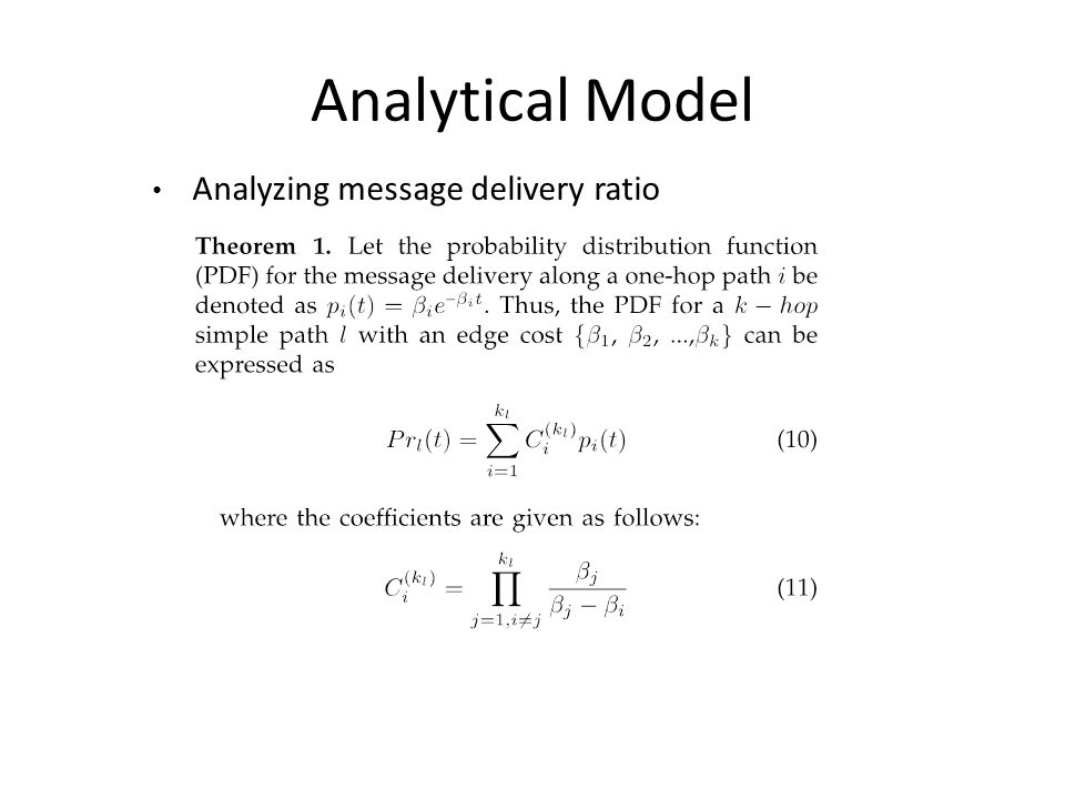 Analyzing message delivery ratio Analytical Model