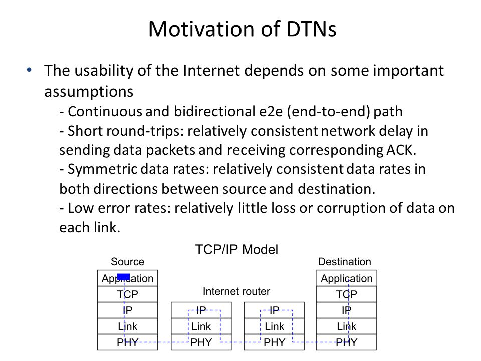 Motivation of DTNs The usability of the Internet depends on some important assumptions - Continuous and bidirectional e2e (end-to-end) path - Short ro