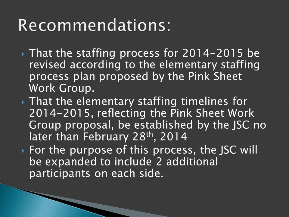  That the staffing process for 2014-2015 be revised according to the elementary staffing process plan proposed by the Pink Sheet Work Group.