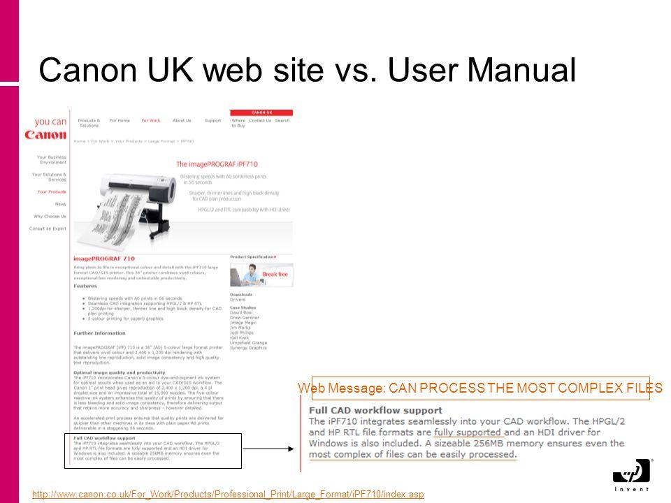 Canon UK web site vs.