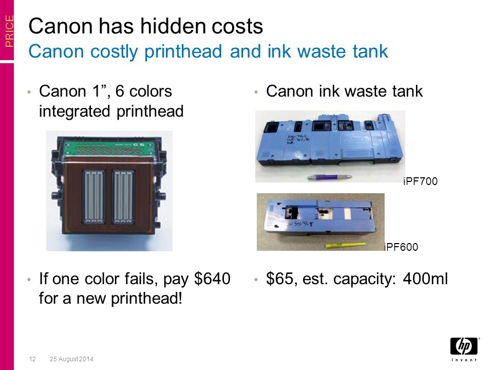 1225 August 2014 Canon 1 , 6 colors integrated printhead If one color fails, pay $640 for a new printhead.