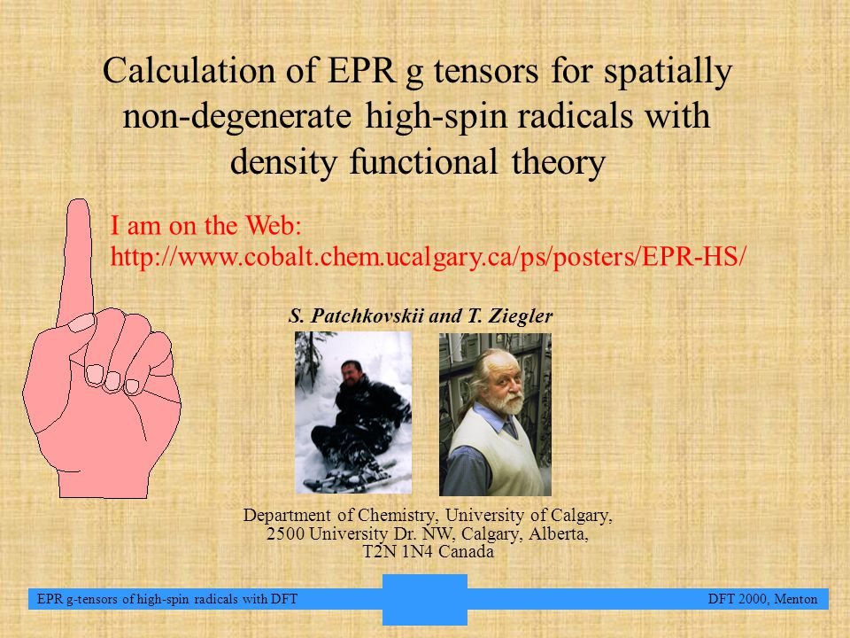 2 EPR g-tensors of high-spin radicals with DFT DFT 2000, Menton Conclusions and outlookConclusions and outlook Accurate techniques for ab initio prediction of EPR g-tensors of small spatially non- degenerate doublet radicals has been available for some time [1].
