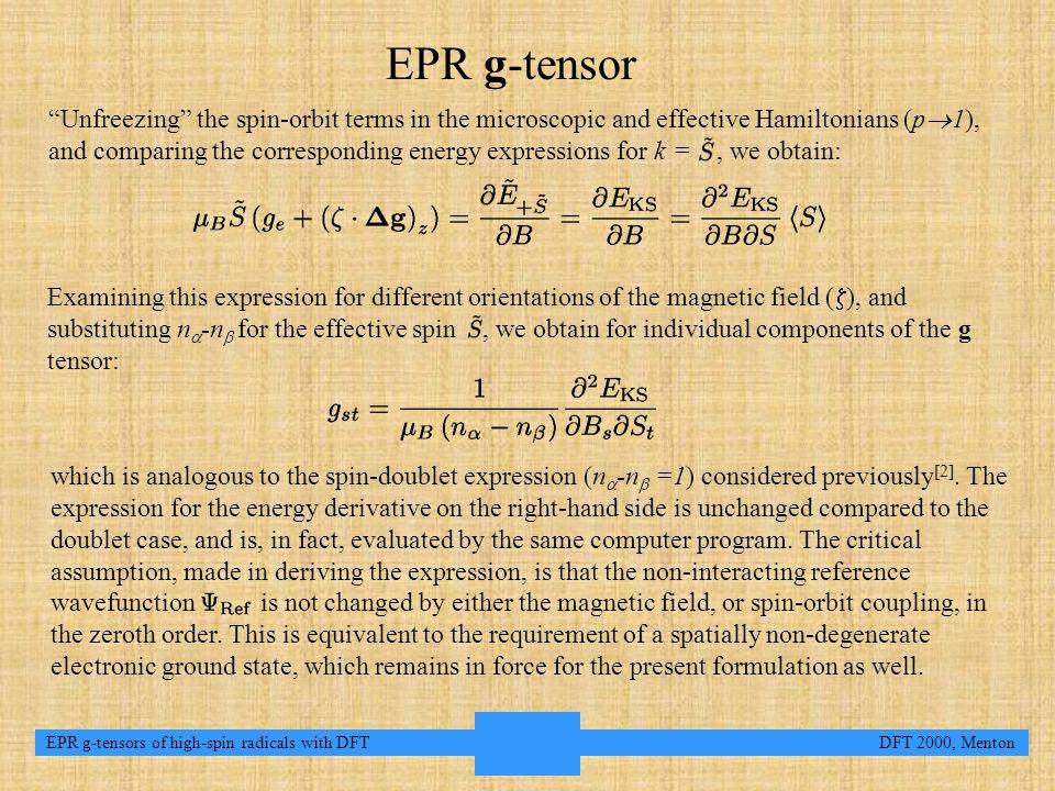 6 EPR g-tensors of high-spin radicals with DFT DFT 2000, Menton Methods