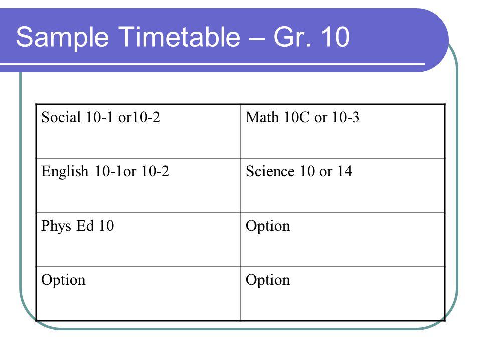 Sample Timetable – Gr.