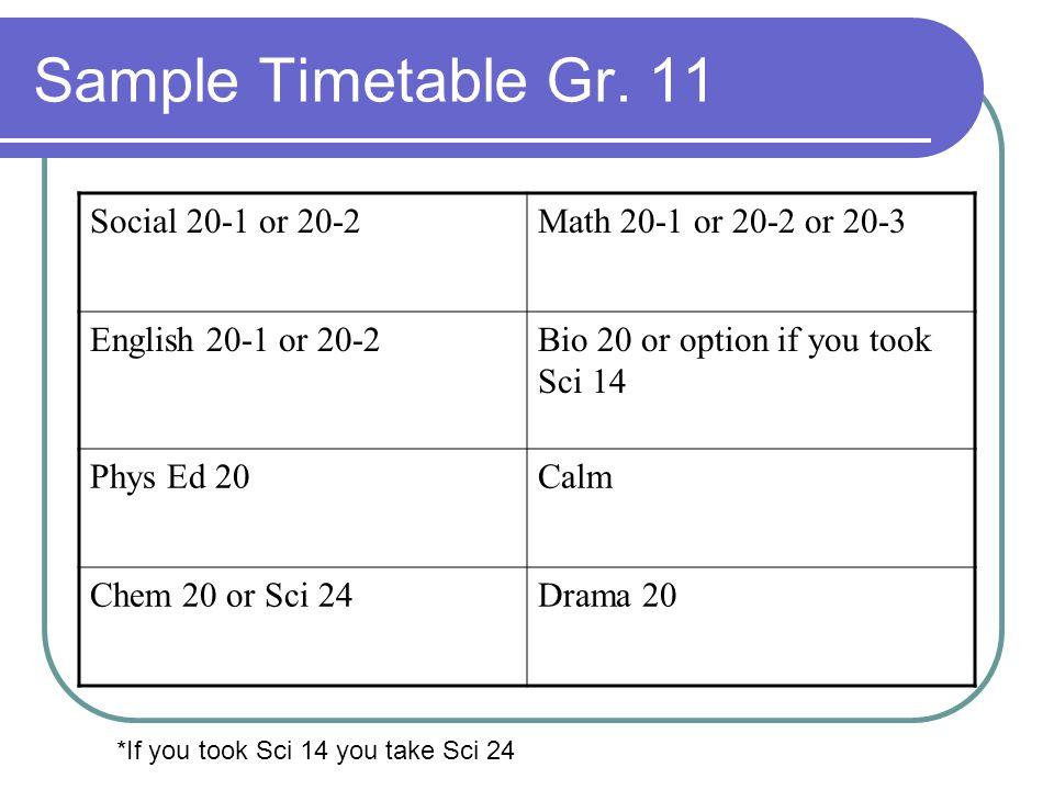 Sample Timetable Gr.