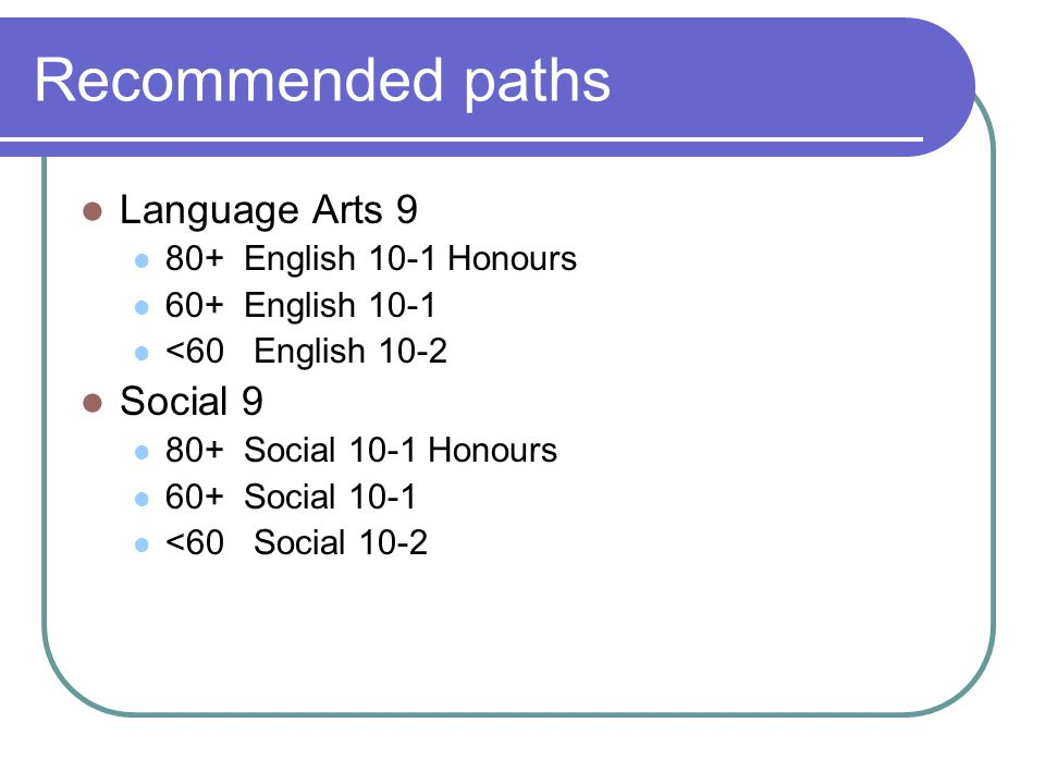 Recommended paths Language Arts 9 80+ English 10-1 Honours 60+ English 10-1 <60 English 10-2 Social 9 80+ Social 10-1 Honours 60+ Social 10-1 <60 Social 10-2
