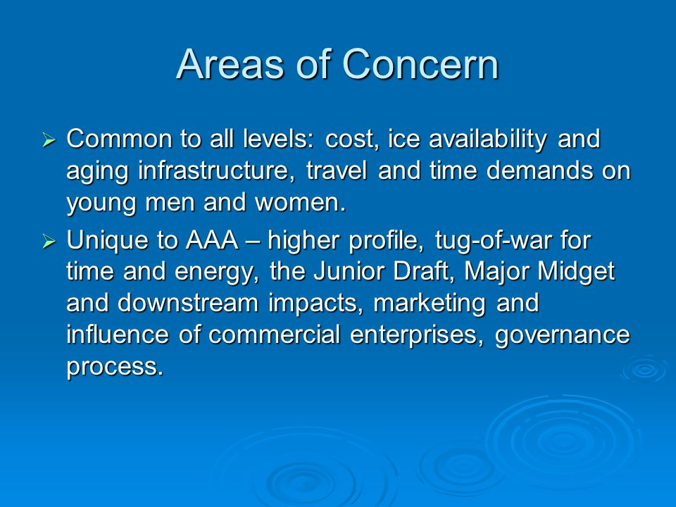 Areas of Concern  Common to all levels: cost, ice availability and aging infrastructure, travel and time demands on young men and women.
