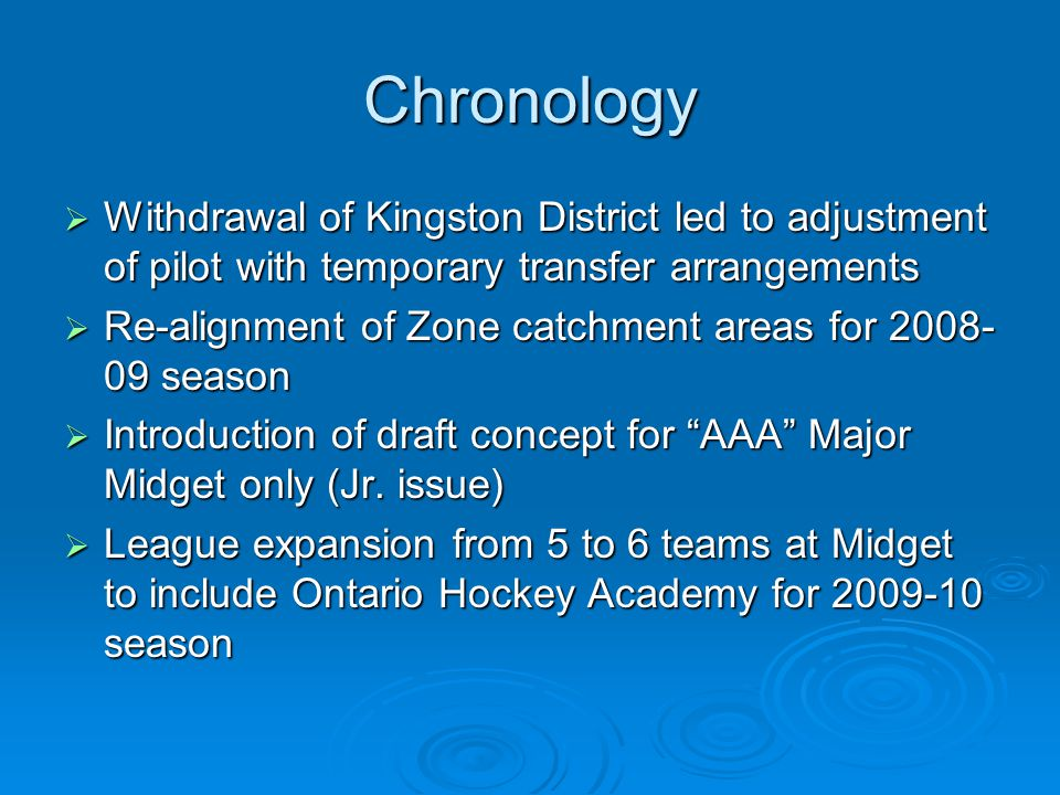 Chronology  Withdrawal of Kingston District led to adjustment of pilot with temporary transfer arrangements  Re-alignment of Zone catchment areas for 2008- 09 season  Introduction of draft concept for AAA Major Midget only (Jr.