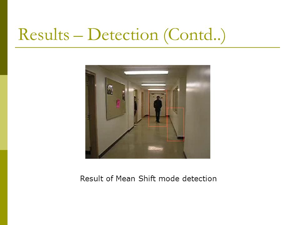 Results – Detection (Contd..) Result of Mean Shift mode detection