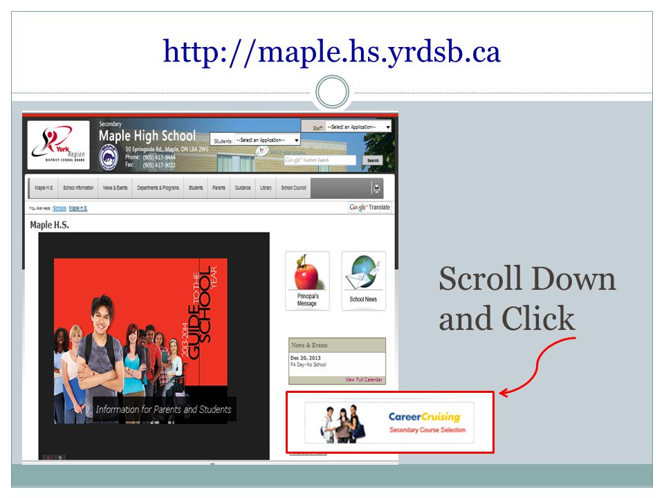 http://maple.hs.yrdsb.ca Scroll Down and Click