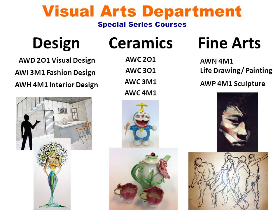 Visual Arts Department Special Series Courses Design Ceramics AWC 2O1 AWC 3O1 AWC 3M1 AWC 4M1 AWD 2O1 Visual Design AWH 4M1 Interior Design AWI 3M1 Fashion Design Fine Arts AWN 4M1 Life Drawing/ Painting AWP 4M1 Sculpture