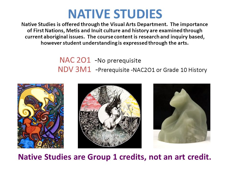 NATIVE STUDIES Native Studies is offered through the Visual Arts Department.