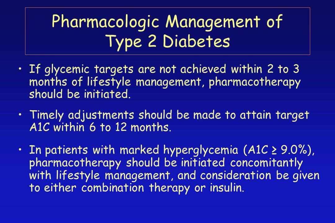 Pharmacologic Management of Type 2 Diabetes If glycemic targets are not achieved within 2 to 3 months of lifestyle management, pharmacotherapy should