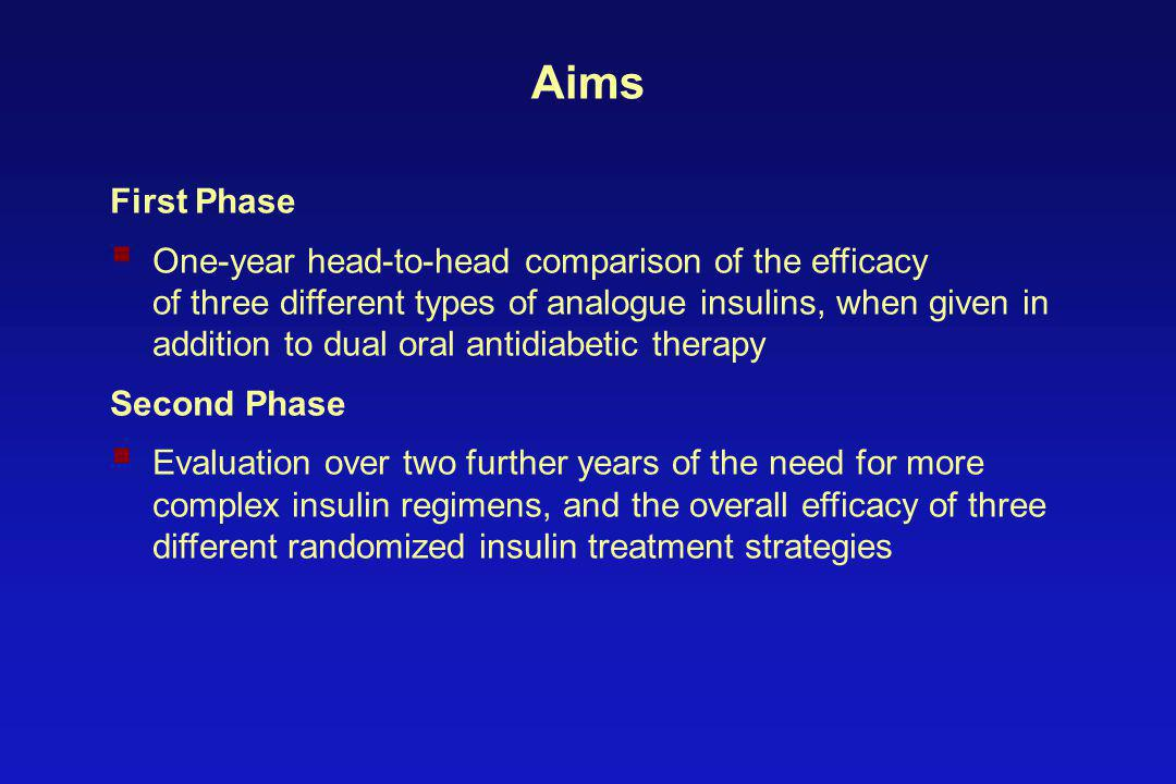 Aims First Phase  One-year head-to-head comparison of the efficacy of three different types of analogue insulins, when given in addition to dual oral antidiabetic therapy Second Phase  Evaluation over two further years of the need for more complex insulin regimens, and the overall efficacy of three different randomized insulin treatment strategies