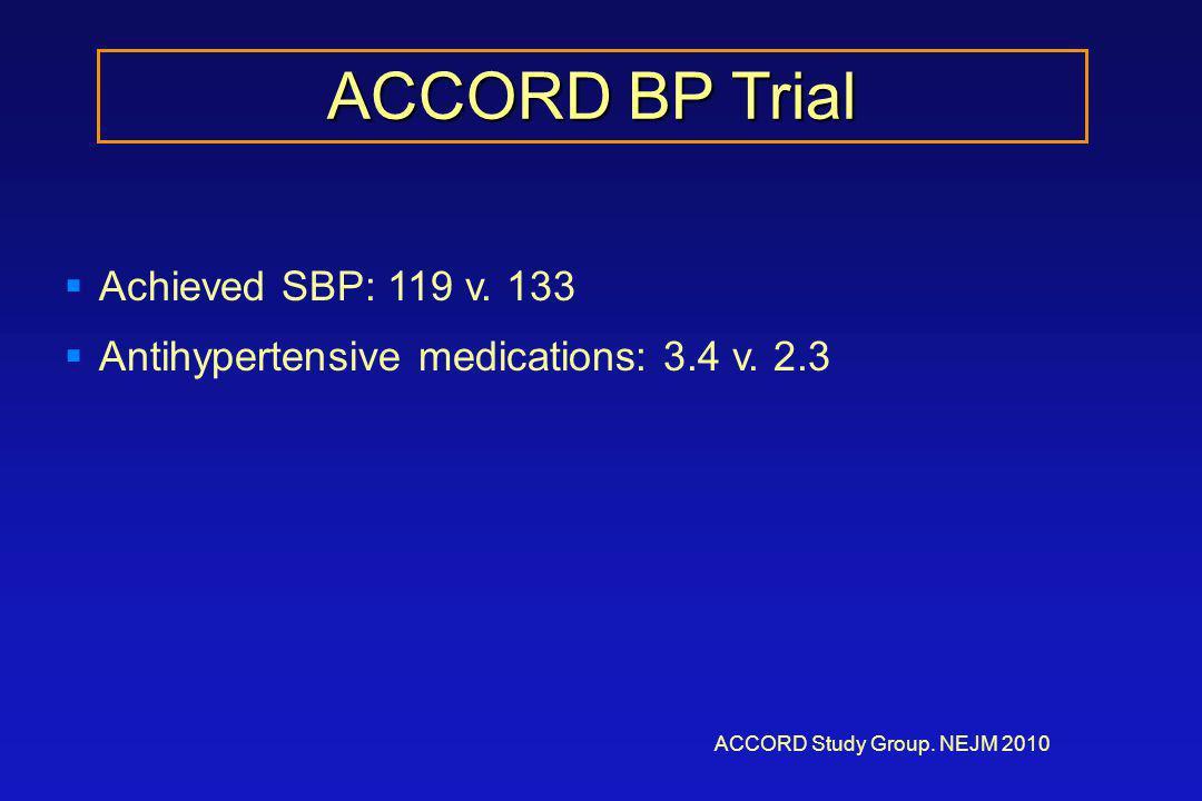 ACCORD BP Trial ACCORD Study Group. NEJM 2010  Achieved SBP: 119 v.