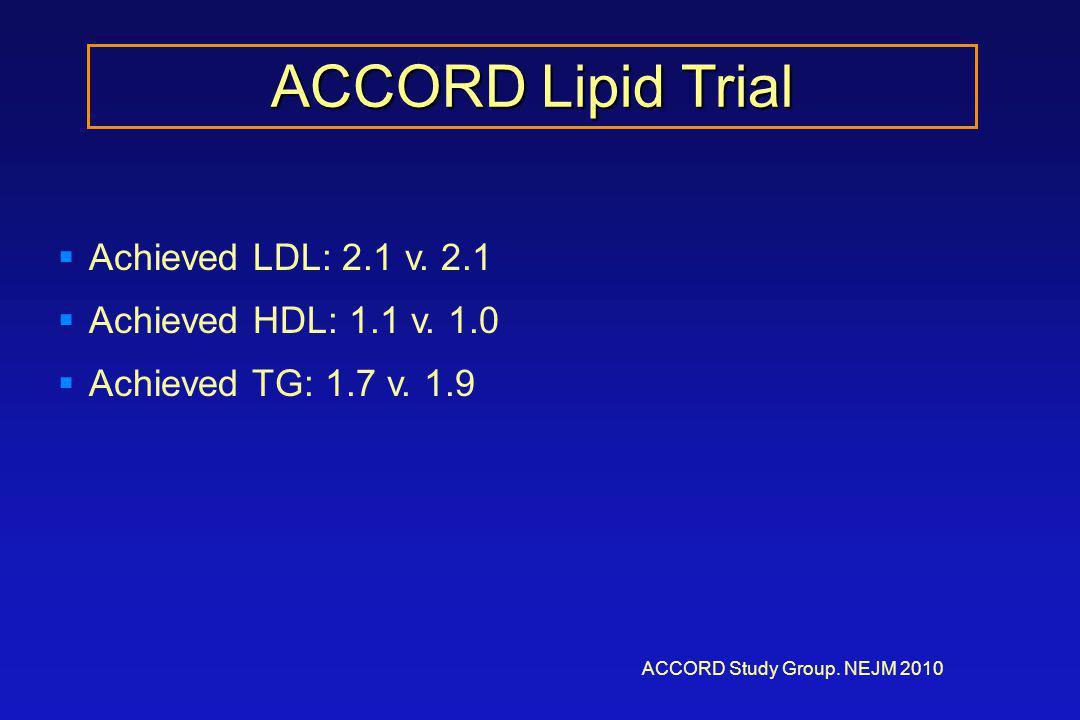 ACCORD Lipid Trial ACCORD Study Group. NEJM 2010  Achieved LDL: 2.1 v.