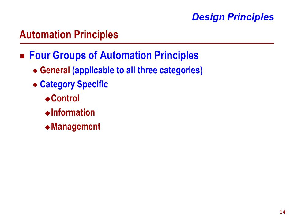 14 Automation Principles Four Groups of Automation Principles General (applicable to all three categories) Category Specific  Control  Information  Management Design Principles