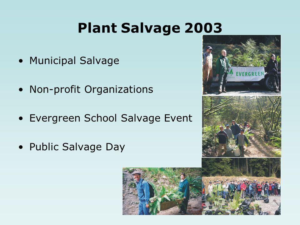 Plant Salvage 2003 Municipal Salvage Non-profit Organizations Evergreen School Salvage Event Public Salvage Day