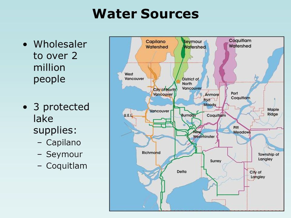 Wholesaler to over 2 million people 3 protected lake supplies: –Capilano –Seymour –Coquitlam Water Sources
