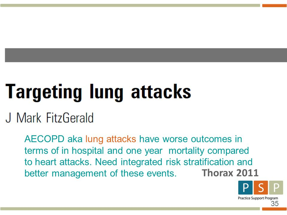 35 Thorax 2011 AECOPD aka lung attacks have worse outcomes in terms of in hospital and one year mortality compared to heart attacks. Need integrated r
