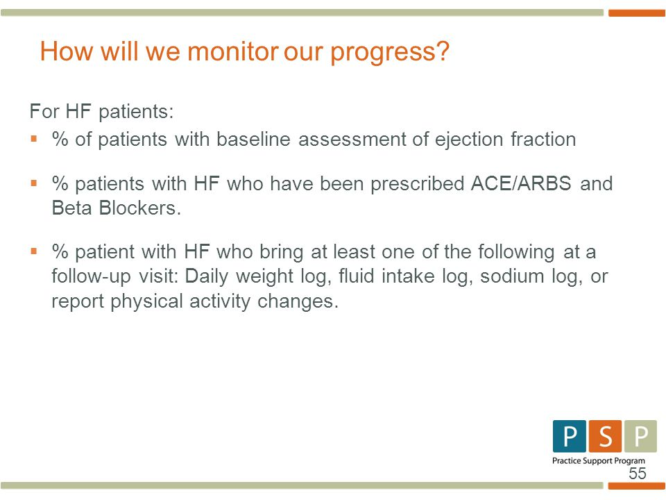 55 For HF patients:  % of patients with baseline assessment of ejection fraction  % patients with HF who have been prescribed ACE/ARBS and Beta Bloc
