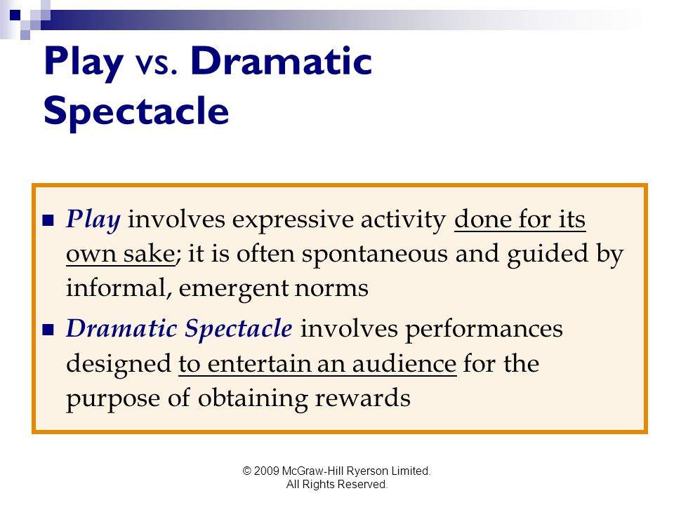 © 2009 McGraw-Hill Ryerson Limited. All Rights Reserved. Play vs. Dramatic Spectacle Play involves expressive activity done for its own sake; it is of
