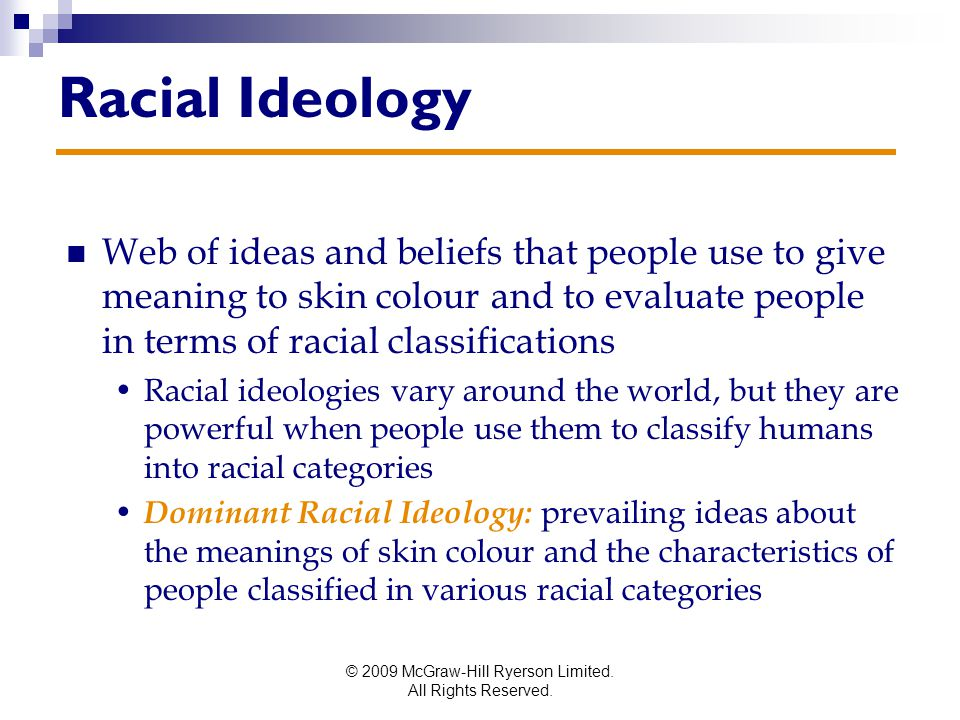 © 2009 McGraw-Hill Ryerson Limited. All Rights Reserved. Racial Ideology Web of ideas and beliefs that people use to give meaning to skin colour and t