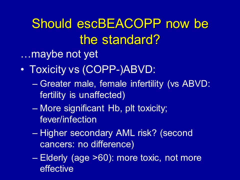 Should escBEACOPP now be the standard? …maybe not yet Toxicity vs (COPP-)ABVD: –Greater male, female infertility (vs ABVD: fertility is unaffected) –M