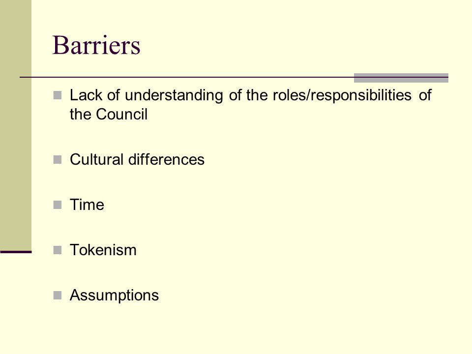 Barriers Lack of understanding of the roles/responsibilities of the Council Cultural differences Time Tokenism Assumptions