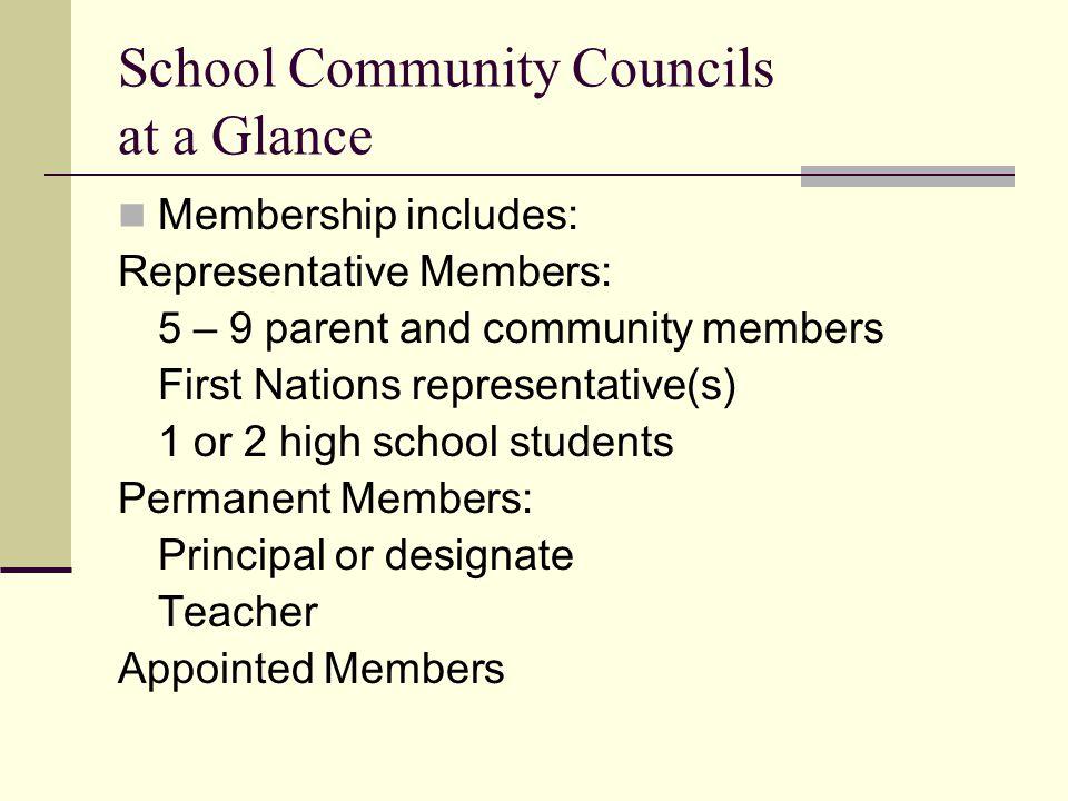 School Community Councils at a Glance Membership includes: Representative Members: 5 – 9 parent and community members First Nations representative(s)