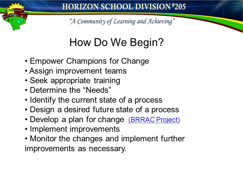 "Empower Champions for Change Assign improvement teams Seek appropriate training Determine the ""Needs"" Identify the current state of a process Design a"