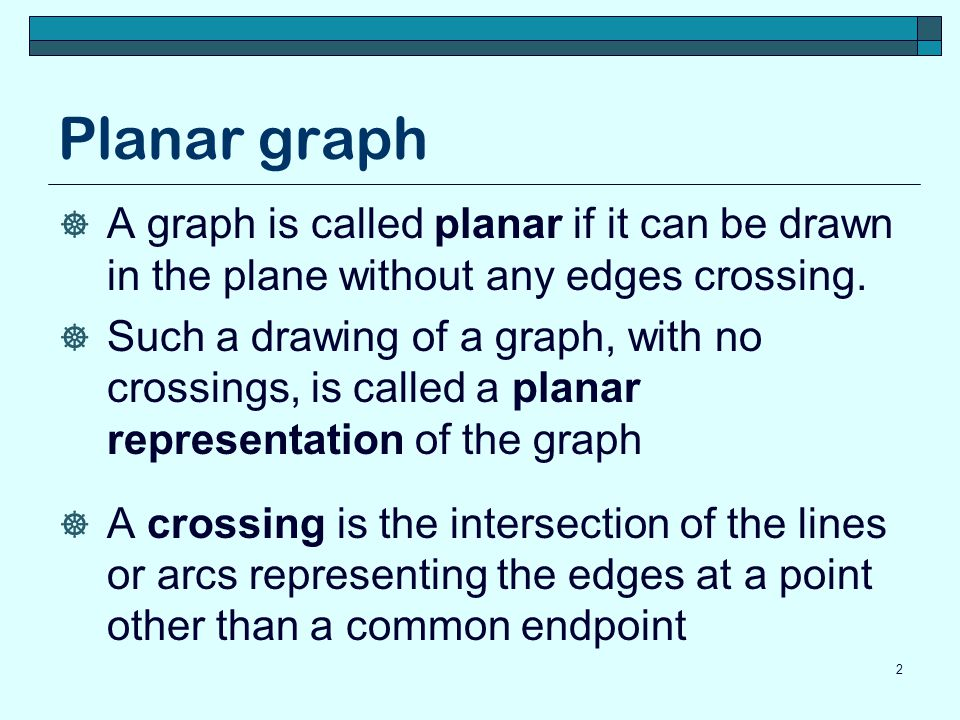 Planar graph  A graph is called planar if it can be drawn in the plane without any edges crossing.  Such a drawing of a graph, with no crossings, is