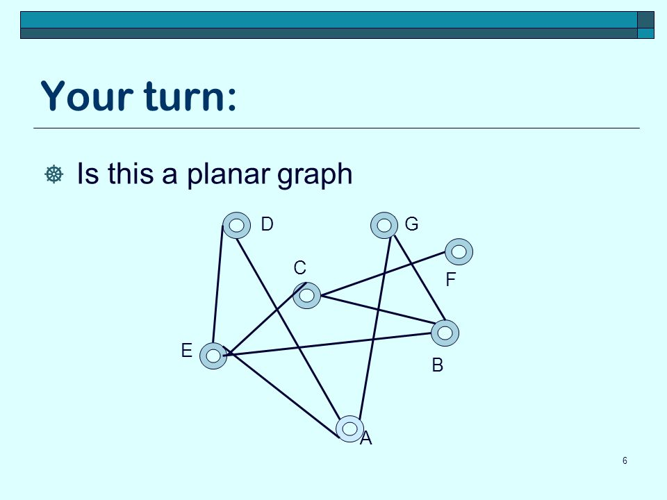 Corollary (proof continued)  If G is a connected planar simple graph, the G has a vertex of degree not exceeding five  If there are at least 3 vertices, lets prove by contradiction we know e≤3v-6 from previous corallary.