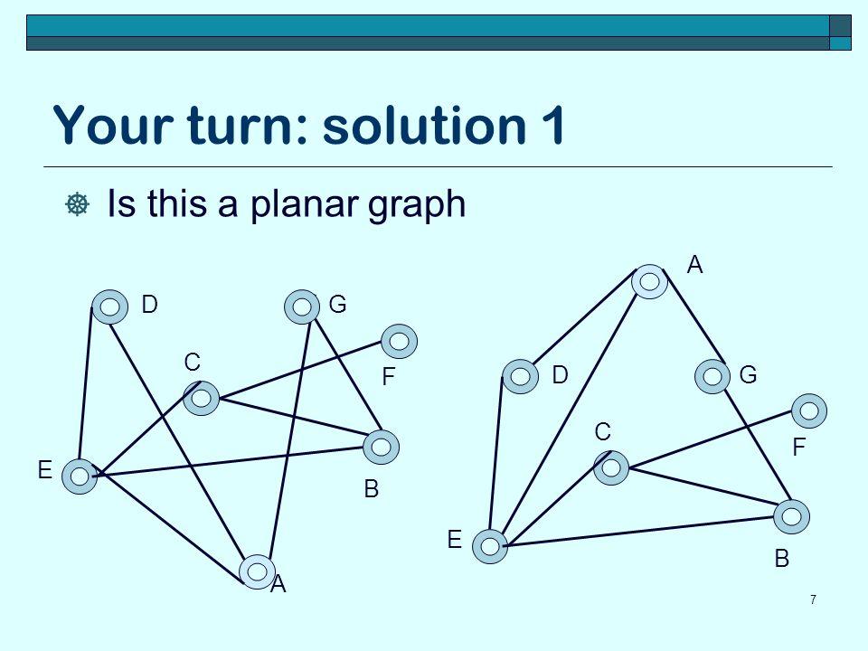 Your turn: solution 2 8 B D C E A G F  Is this a planar graph B D C E A G F