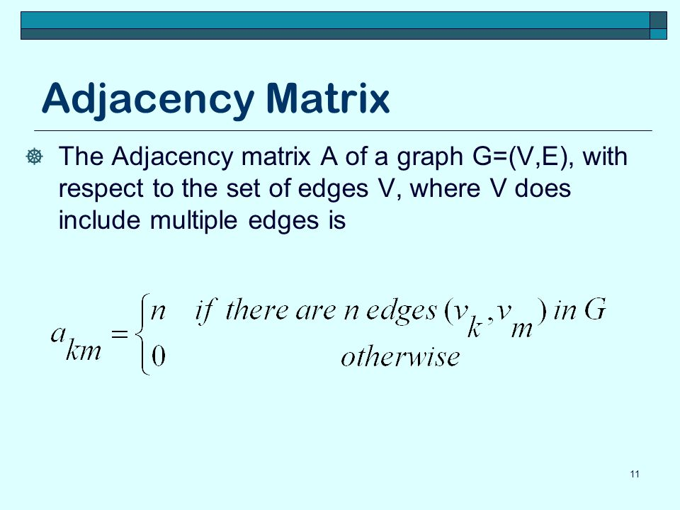 Adjacency Matrix  The Adjacency matrix A of a graph G=(V,E), with respect to the set of edges V, where V does include multiple edges is 11
