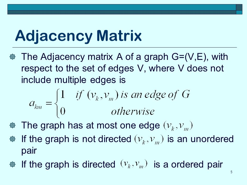 Adjacency Matrix 6 e f c d a f e d c b Adjacency matrix element a mk is 1 if there is an edge between node number m and number k, and 0 otherwise