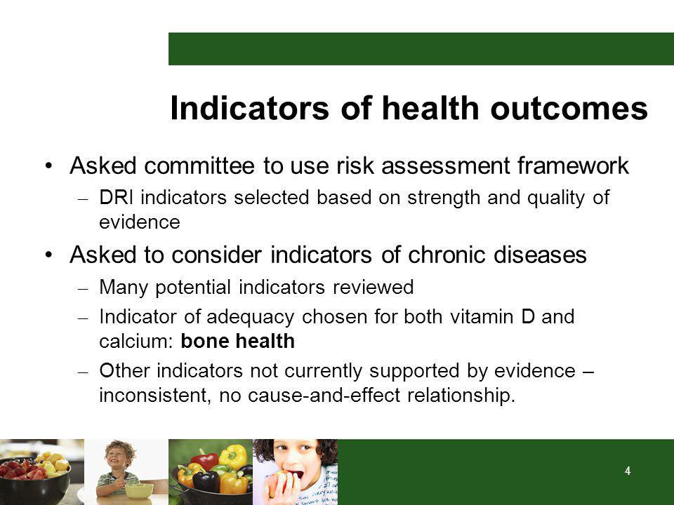 4 Indicators of health outcomes Asked committee to use risk assessment framework – DRI indicators selected based on strength and quality of evidence Asked to consider indicators of chronic diseases – Many potential indicators reviewed – Indicator of adequacy chosen for both vitamin D and calcium: bone health – Other indicators not currently supported by evidence – inconsistent, no cause-and-effect relationship.
