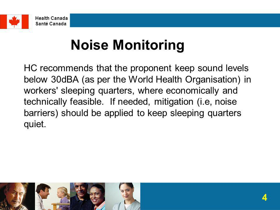 Noise Monitoring HC recommends that the proponent keep sound levels below 30dBA (as per the World Health Organisation) in workers sleeping quarters, where economically and technically feasible.