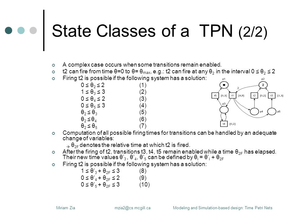 State Classes of a TPN (2/2) A complex case occurs when some transitions remain enabled.
