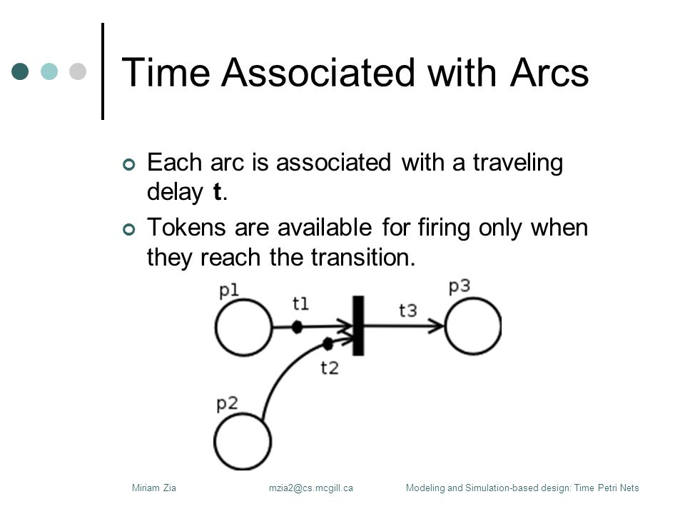 Time Associated with Places Timed Place Petri Nets (TPPN) Each place p is associated with a delay attribute, say t.