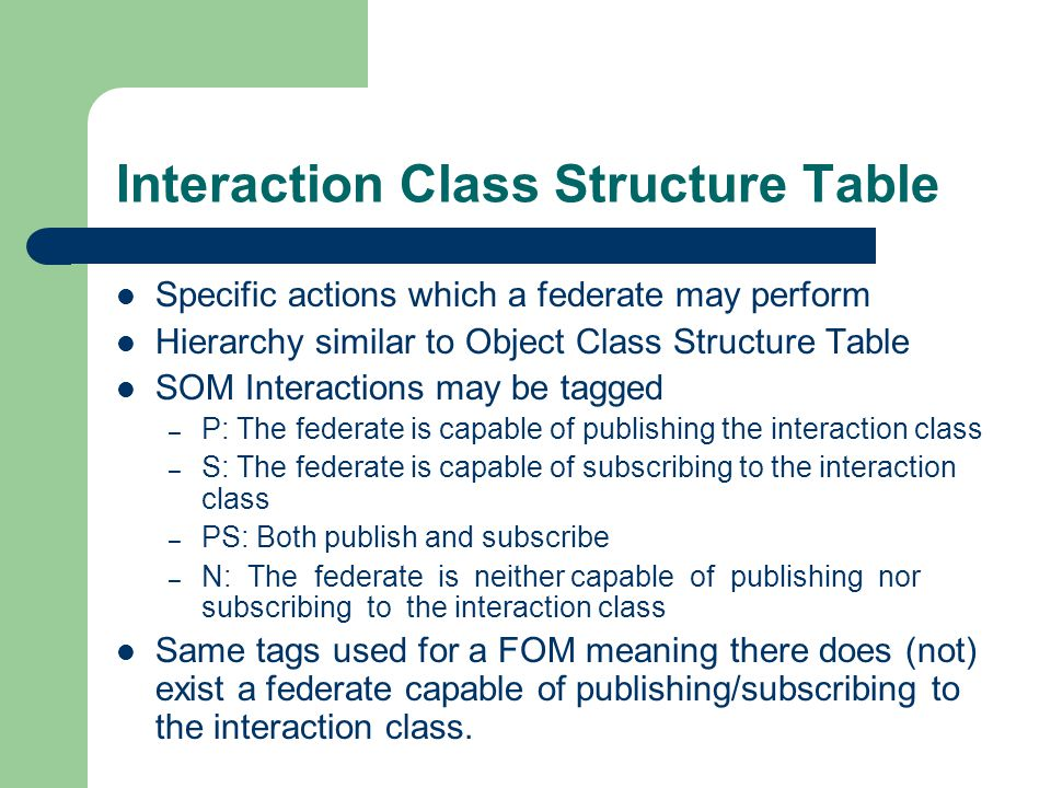 Interaction Class Structure Table Specific actions which a federate may perform Hierarchy similar to Object Class Structure Table SOM Interactions may be tagged – P: The federate is capable of publishing the interaction class – S: The federate is capable of subscribing to the interaction class – PS: Both publish and subscribe – N: The federate is neither capable of publishing nor subscribing to the interaction class Same tags used for a FOM meaning there does (not) exist a federate capable of publishing/subscribing to the interaction class.