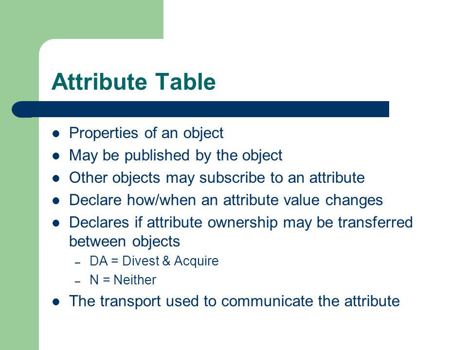 Attribute Table Properties of an object May be published by the object Other objects may subscribe to an attribute Declare how/when an attribute value