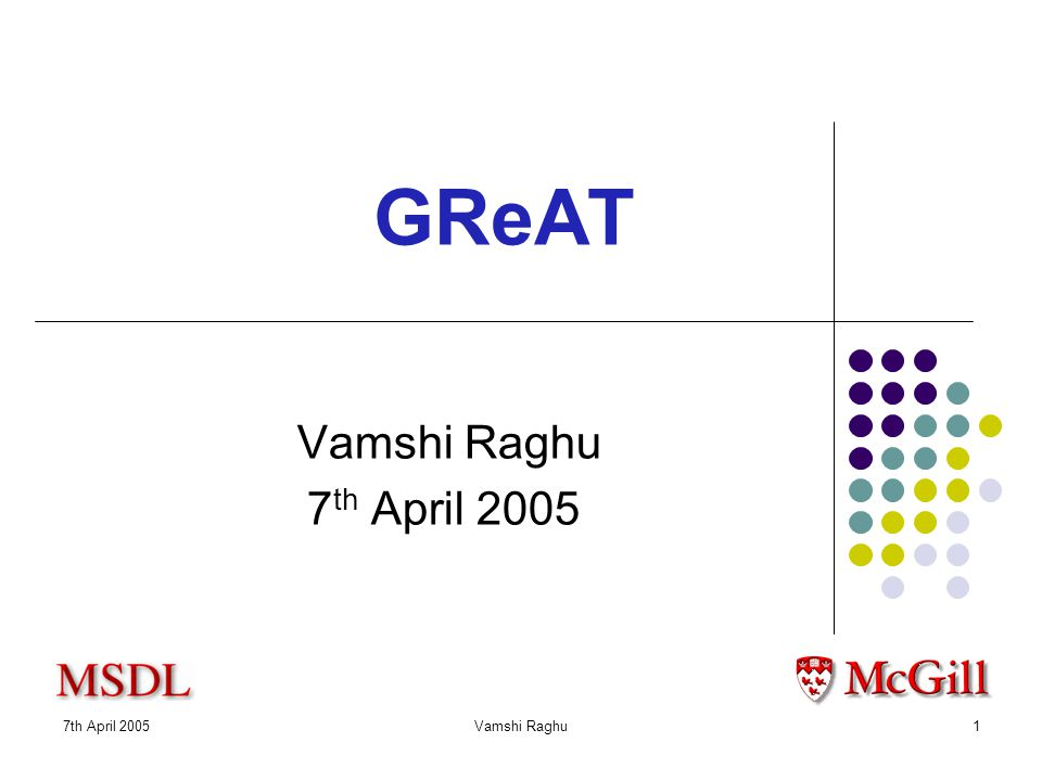 7th April 2005Vamshi Raghu1 GReAT Vamshi Raghu 7 th April 2005